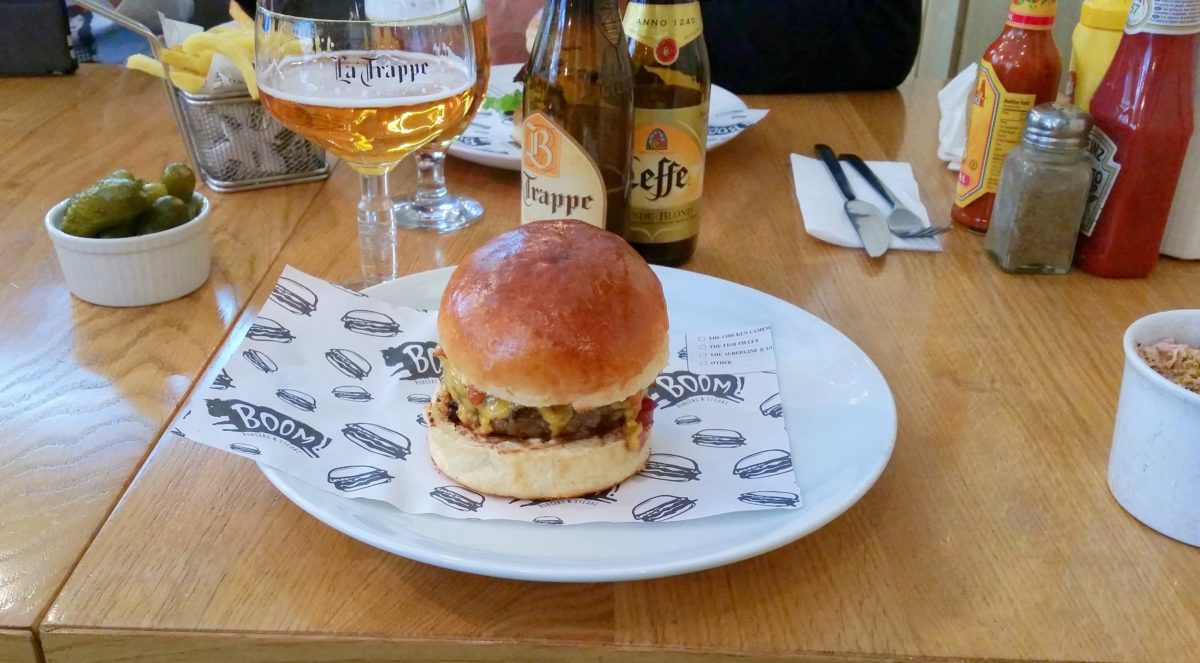 The most delicious burgers with beer at Boom Burger, Sofia, Bulgaria