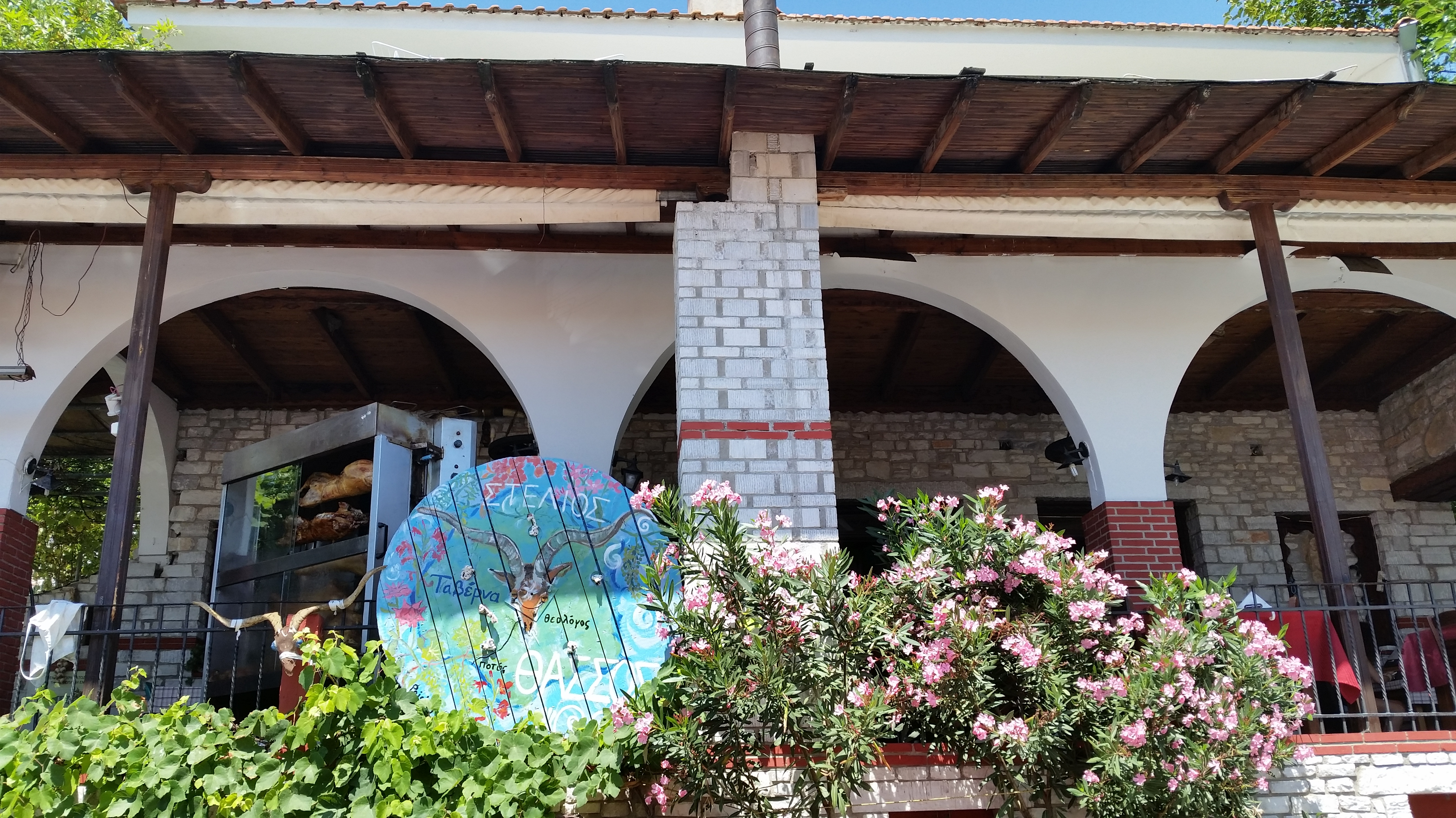 Stelios tavern from the street, Thassos by placescases